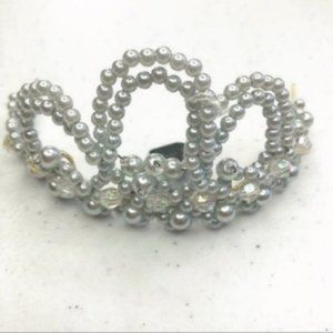 Silver Pearlesque Beaded Bridal Wedding Tiara